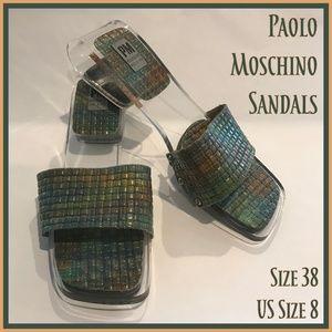 🐣 Paolo Moschino Plexiglass Sandals Italy 38